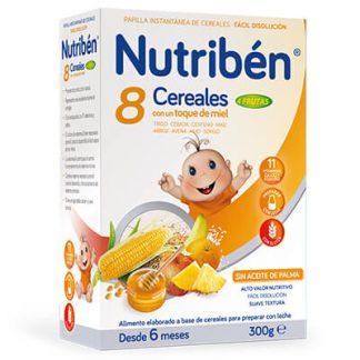 Papilla Nutribén 8 cereales con un toque de miel y 4 frutas 300gr